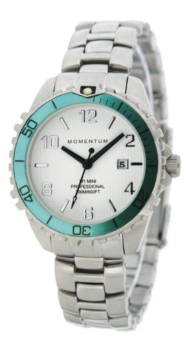 New St. Moritz Momentum M1 Mini Women's Dive Watch with Aqua Bezel & Stainless Steel Band