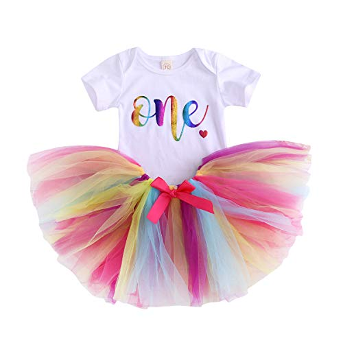 Newborn Baby 1st Birthday Outfit Infant Girls Onesie Romper Bodysuit Top+ Multicolor Tutu Skirt Clothes Set (6-12 Months, One)