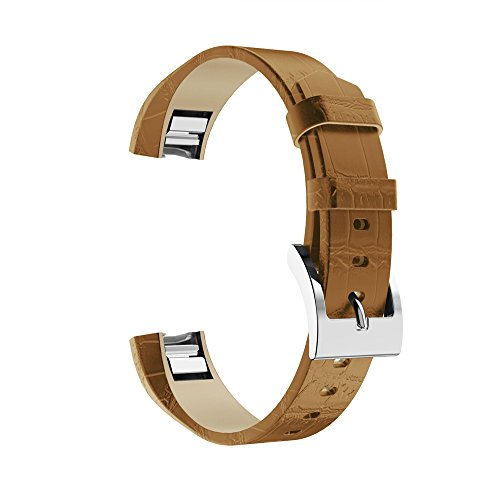 Orcbee  _Classic Leather Replacement Bands with Metal Connectors for Fitbit Alta/Alta HR (J)