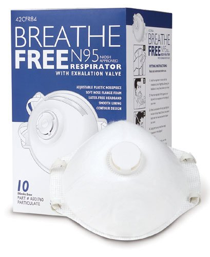 N95 Respirator Mask with Valve Breathe-Free - Box of 10-93B