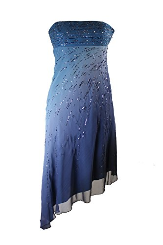 Laundry By Shelli Segal Blue Strapless Ombre Beaded Chiffon Dress ()