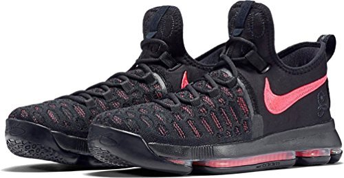 Nike Zoom KD9 PRM (GS) Boys (7Y, Black/Hot-Punch) (Kd Basketball Shoes For Kids)