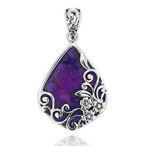 Chuvora 925 Oxidized Sterling Silver Decorative Purple Turquoise Gemstone Triangle Tear Drop Pendant