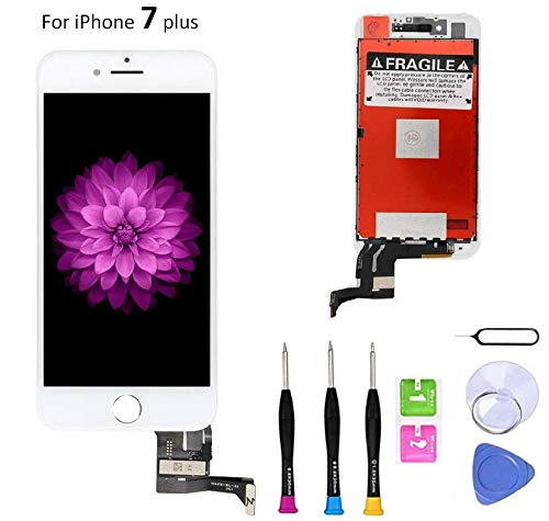 (Compatible with iPhone 7 Plus Screen Replacement (5.5 inch White), LCD Digitizer 3D Touch Screen Assembly Set with Touch Function, Repair Tools and Professional Replacement Manual Included)