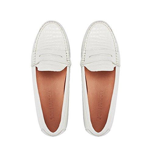 JENN ARDOR Penny Loafers for Women: Vegan Leather Slip-On Comfortable Driving Moccasins Ballet Flats White 6.5 M US - White Leather Ballerina