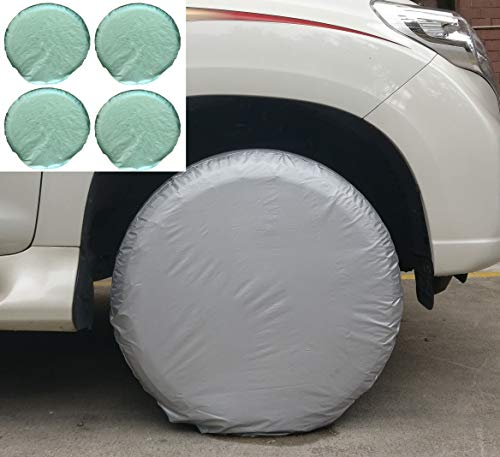 Bingdle Price Hike Tomorrow Set of 4 Tire Covers for RVS Auto Truck Camper Trailer Waterproof Aluminum Film If Breakage Within 2 Years,Resend New Item Immediately (Silver 27-33)