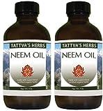 Neem Oil - Pure Organic Un-cut Neem Seed Oil 4 Oz. (Pack of 2)