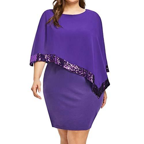 Sttech1 Womens Plus Size Bodycon Dress Ladder Cut Overlay Asymmetric Sequin Stitching Chiffon Strapless Dress Plus Size ()