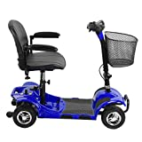 Simoner 4 Wheels Travel Power Scooter, Folding Transportable Electric Mobility Scooter Bike Including Batteries-Great Gift for Disabled Seniors (Blue 2)