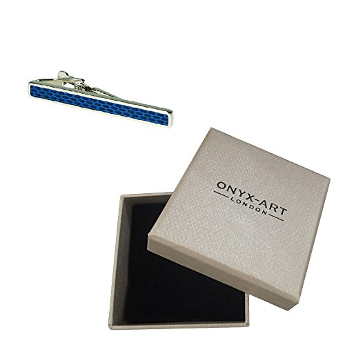 Onyx Art Blue Silver Design Fashion Tie Bar In Deluxe Gift Box