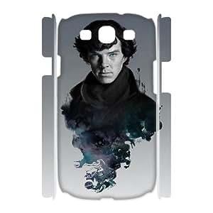 3D Samsung Galaxy S3 Case, Elegant Design Silhouette Sherlock Drawing Case For Samsung Galaxy S3 {White}