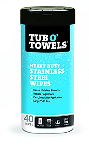 Tub O Towels TW40-SS Stainless Steel Wipes for Cleaning, Polishing, and Protecting (Tub of 40 - Purpose Marine Grease