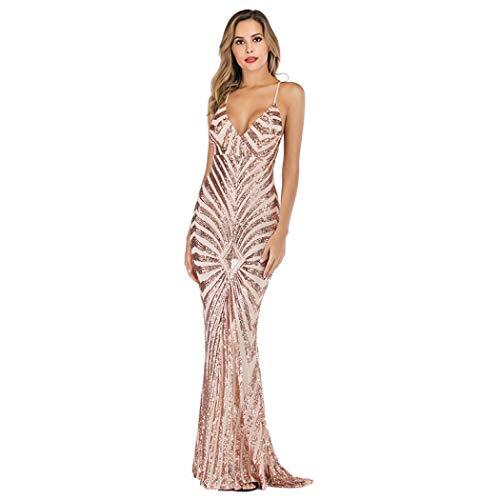 YYW Womens Sexy V-hals pailletten zeemeermin avondjurk jurk voor feest prom bruiloft cocktail