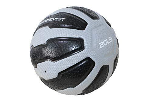 GYMENIST Rubber Medicine Ball with Textured Grip, Available in 9 Sizes, 2-20 LB, Weighted Fitness Balls,Improves Balance and Flexibility - Great for Gym, Workouts, (20 LB (Grey-Black)) (Gym Medicine Ball)