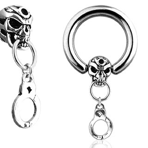 Skull and Handcuff Dangle 316L Surgical Steel Captive Bead Ring - Sold Individually (12G) - Dangle Captive Bead Ring