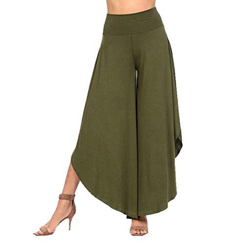 Clearance Womens Wide Legs Pants vermers Women's Layered Wide Leg Flowy Pants High Waist Irregular Comfy Trousers(L, Green)