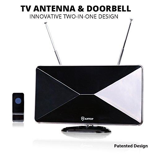 TV Antenna with Built-in Ring Doorbell, ANTOP Digital HDTV A