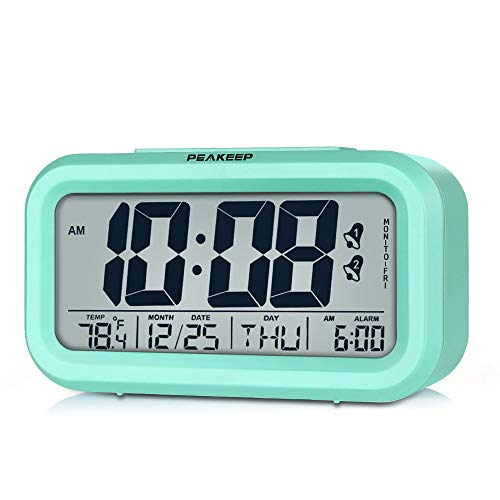 Peakeep Battery Operated Cordless Digital Clock with 2, Dual Alarm for Workday, Snooze, Smart Sensor Light, Mint Green (Table On Clock)
