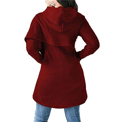 Moda Autunno Per Nero Slim Cappotto Manica Cappuccio Pullover Casual Inverno Donna Felpe Asimmetrico grigio Con Vino Caldo rosso Top Fit Rosso blu Outwear Lunga 4xwIp