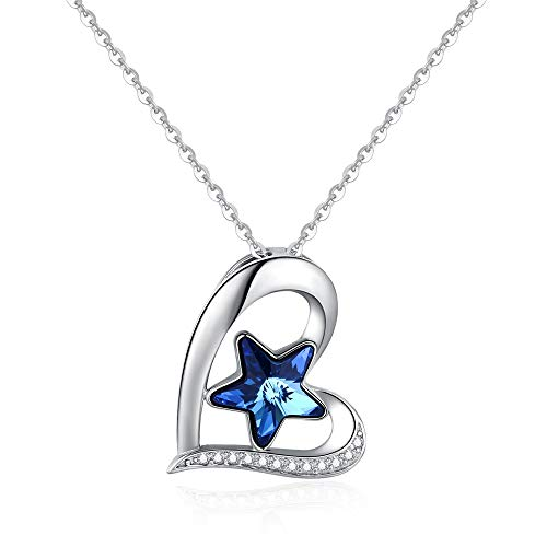 TANGPOET S925 Sterling Silver Lucky Star Necklace Heart Necklace for Woman Crystals Necklace for Women