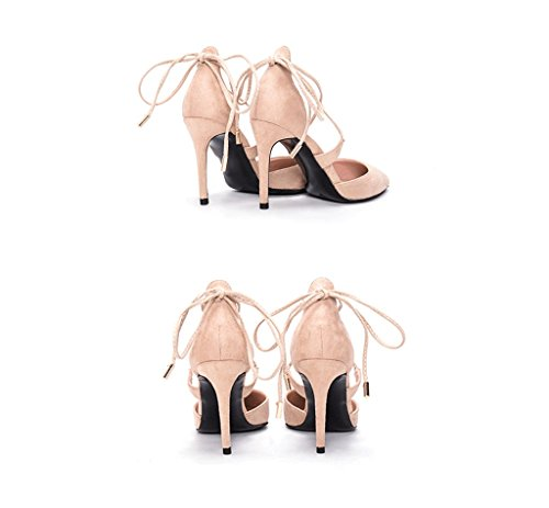 Strap 39 Wedding Beige and Cross Spring Fashion Color Color Shoes Heels Pointed High Nude Size Shoes Summer 0anxFq