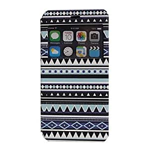 SHOUJIKE Color Bar PU Leather with Card Slot Display Window for iPhone 6 Plus (Blue)