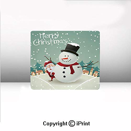 """Printed Mouse pad,Merry Christmas Cartoon with Santa Snowman Pines Houses Winter Decorative,8.2"""" by 9.8"""",Almond Green Eggshell Red,Suitable for Offices and Homes,"""
