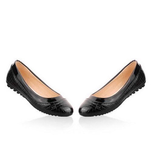 Flats Black Alligator Toe Leather M Patent Round US PU Solid Closed WeenFashion Women's B 7 Pattern whith RBwqn