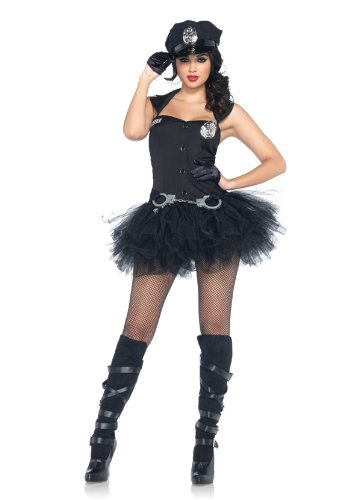 Handcuff Honey Cop Costumes (Leg Avenue 3 Piece Handcuff Honey Tutu Belt And Hat Dress, Black, Medium/Large)