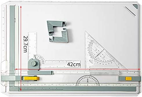 Inch Scale A3 Drafting Table Drawing Board, Drawing Tool Set Graphic Architectural Sketch Board with Parallel Motion, Set Square, Clamps, Protractor, Anti Slip Support Legs, Sliding Ruler