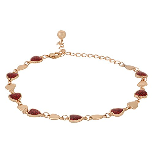 Efulgenz Red Color Gold Tone Enamel Hearts Chain Link Charm Bracelet for Women and Girls with an extender.