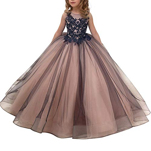 CQDY Flower Girl Lace Dress Embroidery Burgundy Pageant Wedding Ball Gown for 2-11 Years Old