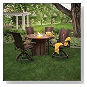 Homecrest Wescott Sling Outdoor Gas Fire Pit Balcony Table and Chair Set