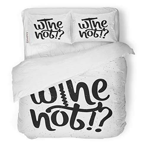 Semtomn Decor Duvet Cover Set Twin Size Red Alcohol Inspirational Wine Not Text Bottle Lettering Glass 3 Piece Brushed Microfiber Fabric Print Bedding Set Cover -