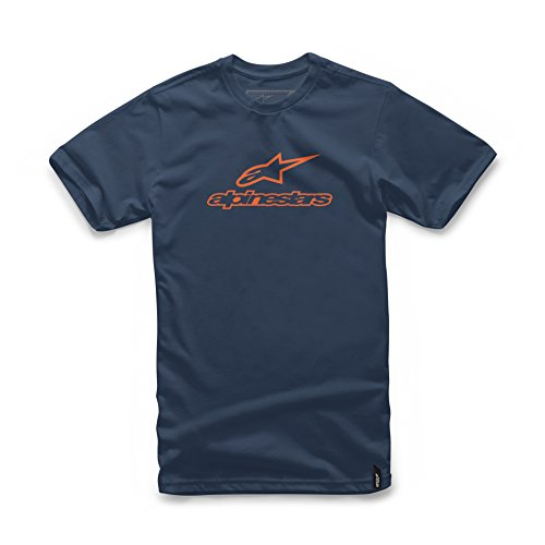 - Alpinestars Men's Modern Fit Short Sleeves 146 GSM Logo T-Shirt, Always Navy/Orange 2XL