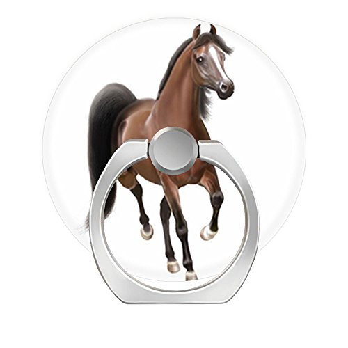 (Pop 360 Degree Rotation Cellphone Finger Ring Holder Stand Car Mount Works for Smart Phone Iphone 5 6 7 8 X Plus Samsung HTC LG Ipad-trotting bay arabian horse)