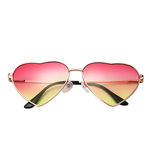 de Rétro 1 forme femme Réfléchissant Soleil mode en coeur mioim la de Lunettes Miroir métal pêche UV400 en 4w8EAq81nW