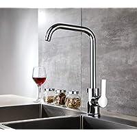 Aurho robinet de cuisine mitigeur évier bec 360 ° avec chromage Conception robuste en cuivre ajustable à chaud et à froid pour cuisine