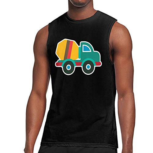 Q81CHO@ Mens Cement Truck Muscle Sleeveless T-Shirt, Essential Vest for Exercising Black