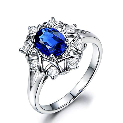 KnSam Oval Shape Sapphire Blue Sterling Silver Jewelry Wedding Rings for Women Size 9.5