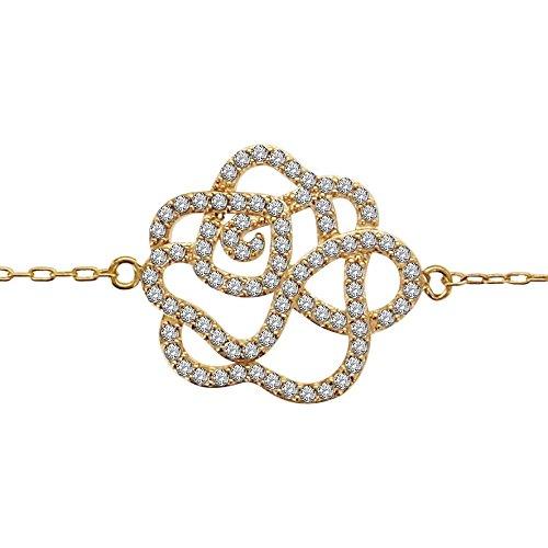 So Chic Bijoux © Bracelet Femme Longueur Réglable: 16 à 19 cm Chaîne Fleur Oxyde de Zirconium Blanc Plaqué Or 750