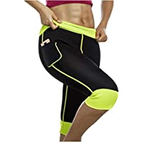 Women Weight Loss Hot Neoprene Sauna Sweat Pants with Side Pocket Workout Thighs Slimming Capris Leggings Body Shaper