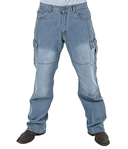 Juicy Trendz Herren Motorradrüstung Biker Motorrad Denim Hose Jeans Trouser Dull Cargo