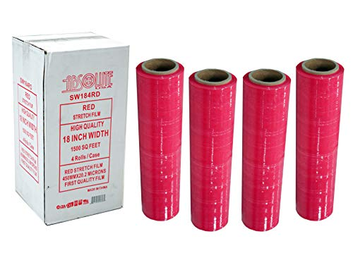Absolute USA SW184RD 4 Original Rolls Red Hand Stretch Plastic Film Pallet Shrink Wrap 18
