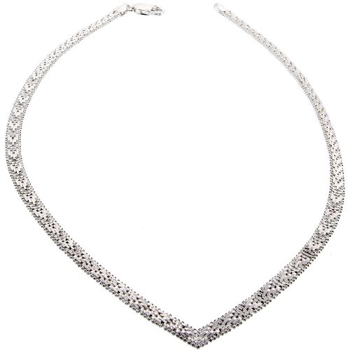 Sterling Silver Italian Riccio V Necklace 5-Row 3/16 inch wide, 18 inch