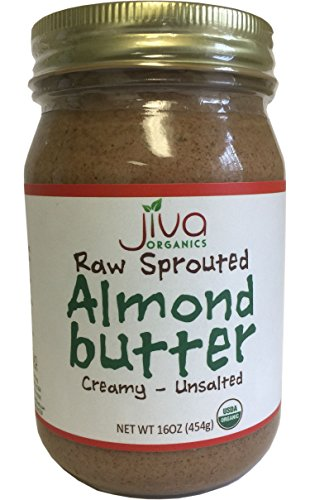 (Jiva Organics RAW SPROUTED Organic Almond Butter 16-Ounce Large Jar )