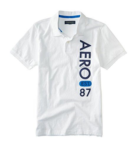 Aeropostale Men's Aero Est. 87 Jersey Polo Shirt Xl Bleach