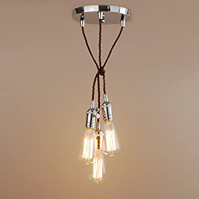 Pathson Industrial Factory Mini Pendant with 3 Head in Retro Design Vintage Simple Home Ceiling Light Fixture Flush Mount with Adjustable Textile Cord Pendant Cluster Light (Bulbs Not Included)