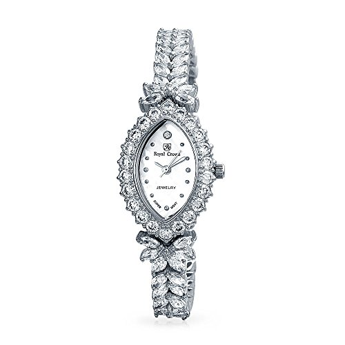 (Bling Jewelry Rhodium Plated Marquise Cubic Zirconia Dress Watch)