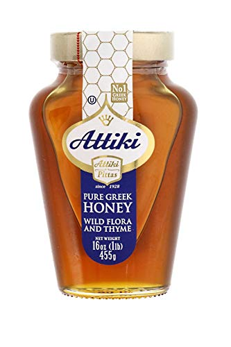 Attiki Pure Greek Honey with Wild Flora and Thyme - Enjoy Honey's Balanced Flavors, Wholesome Benefits and Sweet Natural Goodness, 16 oz Jar